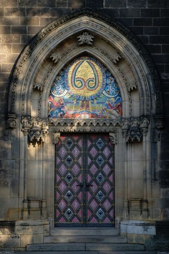 Architecture Built Structure Place Of Worship Religion Building Belief Building Exterior Spirituality Entrance Door Arch Pattern Closed Day Creativity No People Art And Craft Ornate Glass