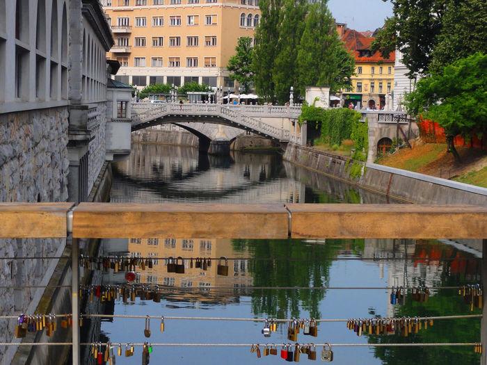 Beautiful bridges and buildings in Ljubljana, Slovenia Architecture Bridges Building Exterior Built Structure Ljubljana River Sloenia Tourist Attraction  Travel Destinations Water