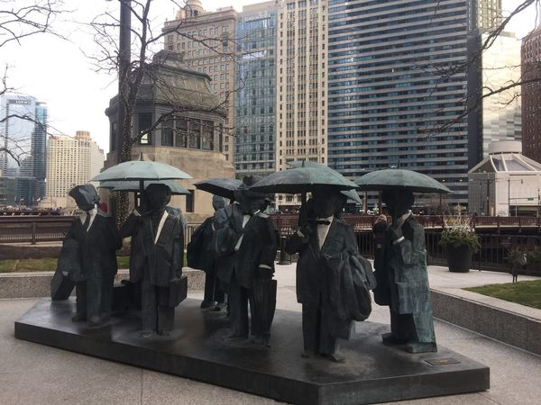 Some little rain men with umbrella, though it was sunny day. USA Photos Chicago Building Exterior Built Structure Statues City Life