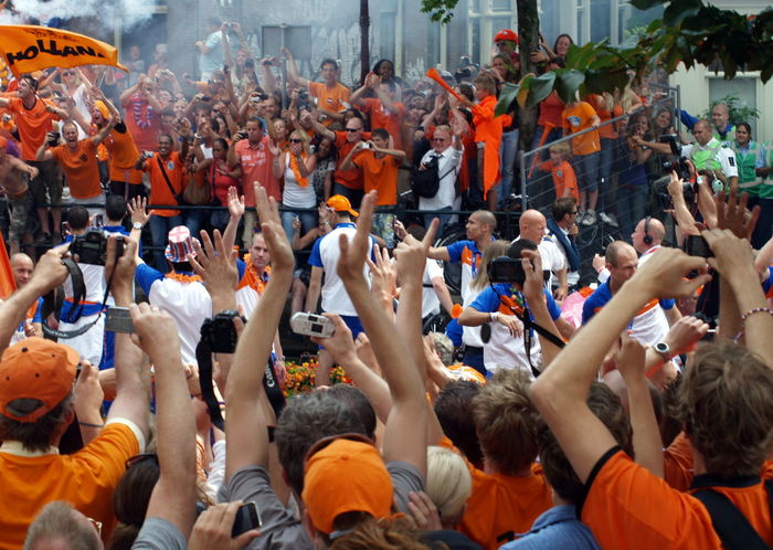 Adult Adults Only Amsterdam Arjen Robben Audience Boat Can Carefree Celebration Ceremony Crowd Dutch Dutch Soccer Team Large Group Of People Men Orange People Real People Robben  Soccer Technology Togetherness Women World Champion World Championship Soccer 2010