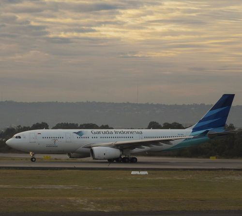 Airplane Transportation Air Vehicle Cloud - Sky Sky Airport Airport Runway Garuda Indonesia Airbusa330 Perthairport Jakarta Soekarno-hatta International Airport Travel Sunset Mode Of Transport Outdoors Day Runway Commercial Airplane Nature Airplane Wing