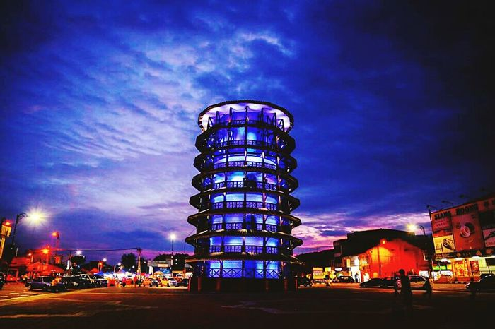 at perak town... Leaning Tower..... Nite Lights