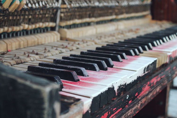 Close-up of old piano