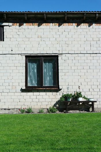 Window Grass Architecture Built Structure Building Exterior House Wall - Building Feature Day Outdoors Grassy Green Color No People Façade My Favorite Place Countryside Solitude Home Showcase September Façade Streetphotography White Wall Windows Plants Botany City