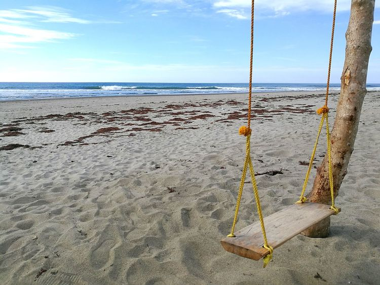 Won't you swing by the waves? Swing Wooden Swing Sand Beach Sea Sky Horizon Over Water No People Day Outdoors Cloud - Sky Water Nature