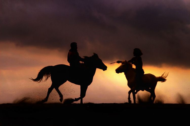 Silhouette people riding horse