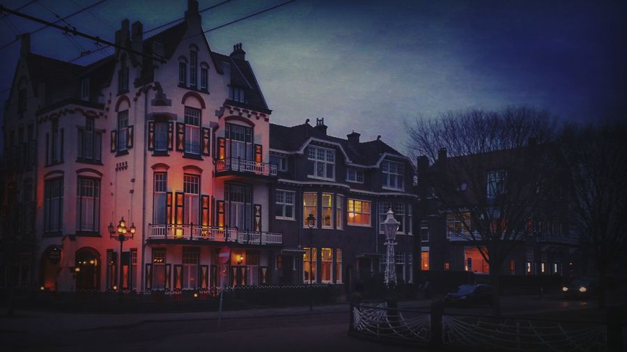 Building Exterior Illuminated Architecture Jugendstil Dutch Houses Hotel Arnhem Night City Outdoors Spooky Allofthelights Lights The Architect - 2017 EyeEm Awards