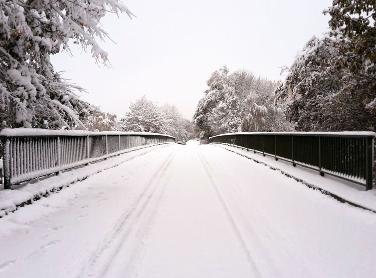 Snow covered bridge Bridge - Man Made Structure Bridges Cold Temperature Countryside Day Footbridge Grey Sky Landscape Nature Outdoors Road Ruralscenes Sky Snow Snow Covered Snowing The Way Forward Tracks Tree Winter Wintertime