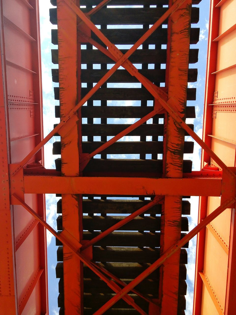 architecture, built structure, steps and staircases, building exterior, fire escape, no people, day, steps, outdoors, red, close-up