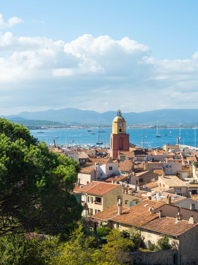 Cityscape France Saint-Tropez Bell Tower City Cloud - Sky Day No People Outdoors Sea Sky Water