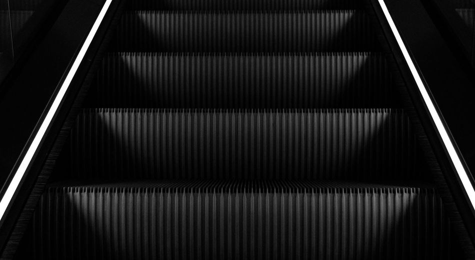 light and steps Close-up Convenience Day Escalator Futuristic Hand Rail Illuminated Indoors  Low Angle View Modern No People Pattern Railing Staircase Steps Steps And Staircases Technology