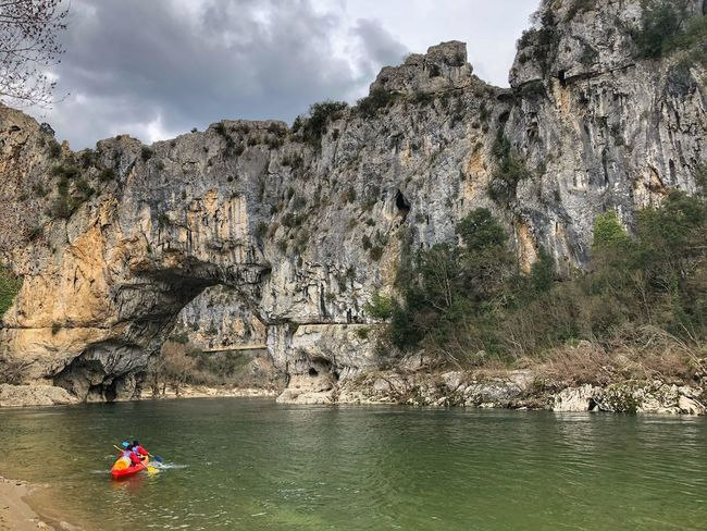 Ardeche Pont d'arc France Canoe Kayak Ardeche River Pont D'arc Ardeche Sky Water Day Nature One Person Outdoors Lake Cloud - Sky Tranquility Real People Tree Full Length Men Adventure