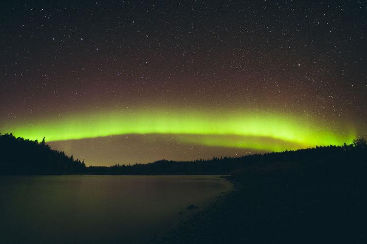 Panoramic view of aurora borealis