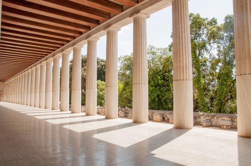 Corridor along pillars