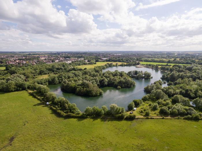 Drone aerial shot of a lake in the countryside Aerial Photography Bushes Country Day Drones Grass Grass Area Lake No People Outdoors Sky Trees And Sky Water, Water_collection, Hello World, Reflection, Water Reflections