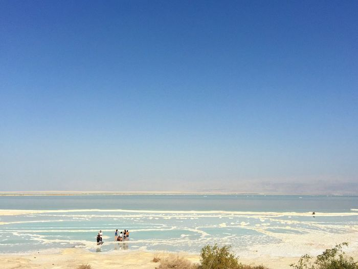 People At Dead Sea Against Clear Blue Sky