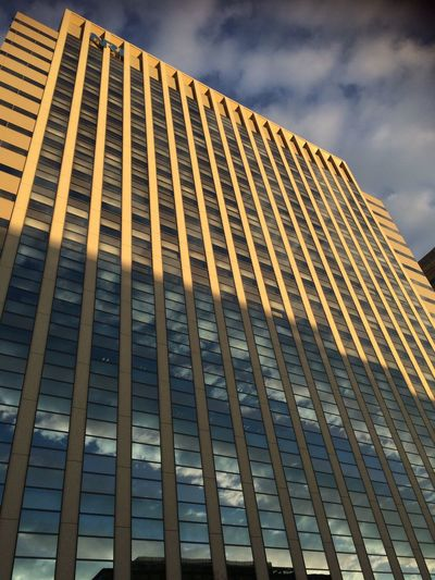Architecture Building Exterior Built Structure Low Angle View Sky City Modern No People Skyscraper Outdoors Tall Infrastructure High Rise Day Office Block Nofilter Mirror 1/9, 2017🌦 初詣の帰り道。雨上がりの夕焼け
