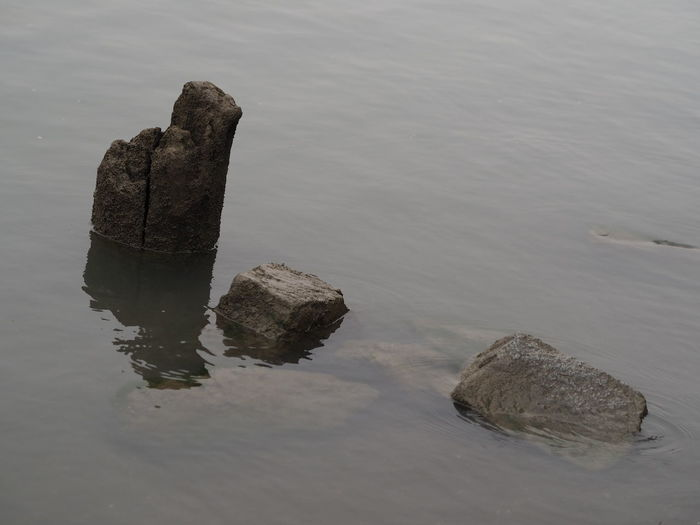 High Angle View Of Rocks In Lake