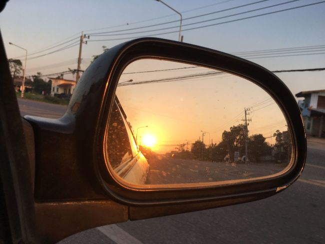 Side-view Mirror Car Reflection Transportation Sunset Road Mirror
