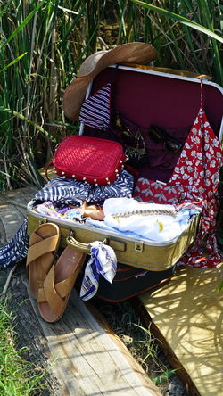 Summer Lagguage Forest Path Hat Natural Natural Beauty Nature Sandals Antique Bag Bag Bags Bikini Day Forest Lagguage No People Outdoors Picnic Basket Seaside Summer First Eyeem Photo
