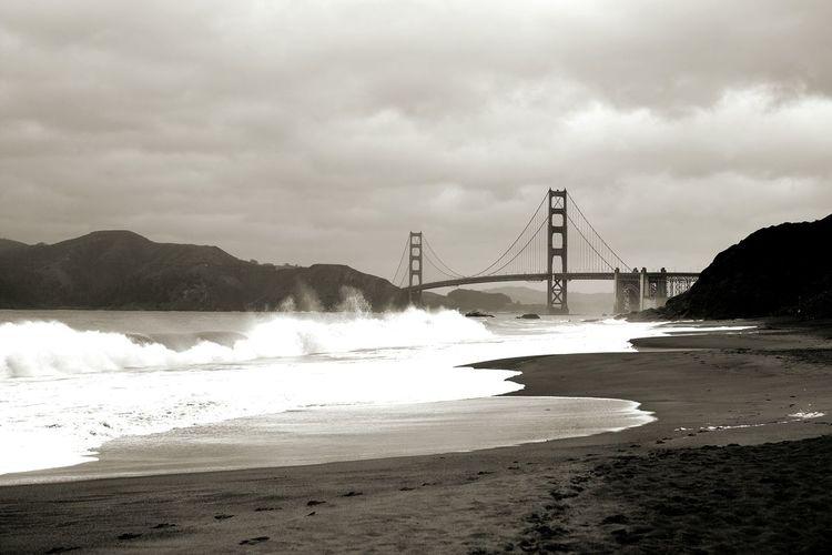 Golden Gate Bridge Waves Ocean Black And White