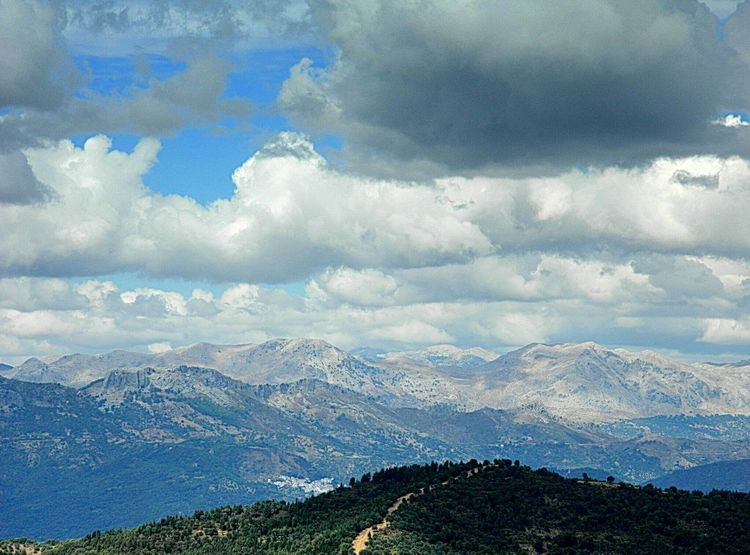 Valle del Genal Spain, Andalucia, Malaga Mountains Landscape Clouds And Sky