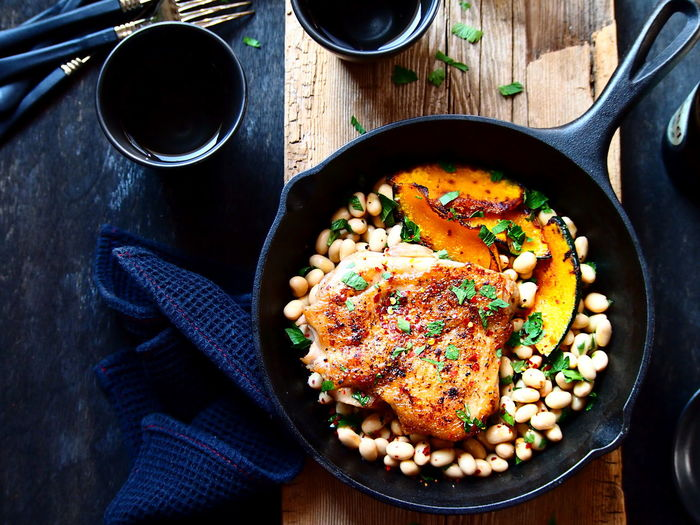 Chicken Saute with Soybean & Pumpkin Chicken Food Art Food Styling Lunch Bean Close-up Comfort Food Directly Above Food Food And Drink Healthy Eating High Angle View Lifestyles Meal Pumpkin Table
