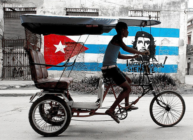 Bicycle Riding One Man Only Cycling Outdoors City Che Cuban Flag Cuban People