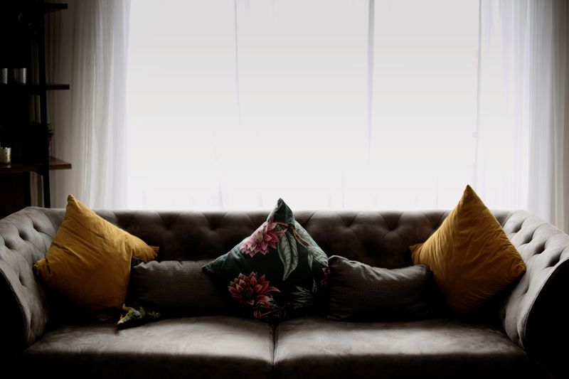 Cushions on sofa against window at home