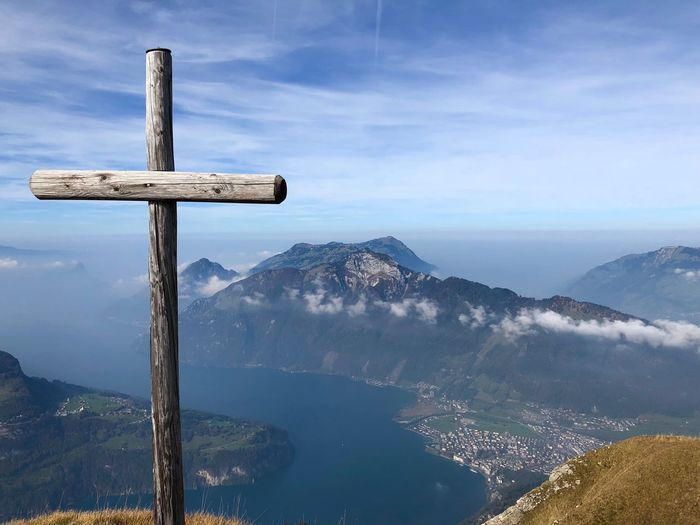 Mountain Cross Religion Sky Cloud - Sky Water Belief Scenics - Nature Beauty In Nature Nature Spirituality No People Mountain Range Tranquility Non-urban Scene Day Tranquil Scene Outdoors