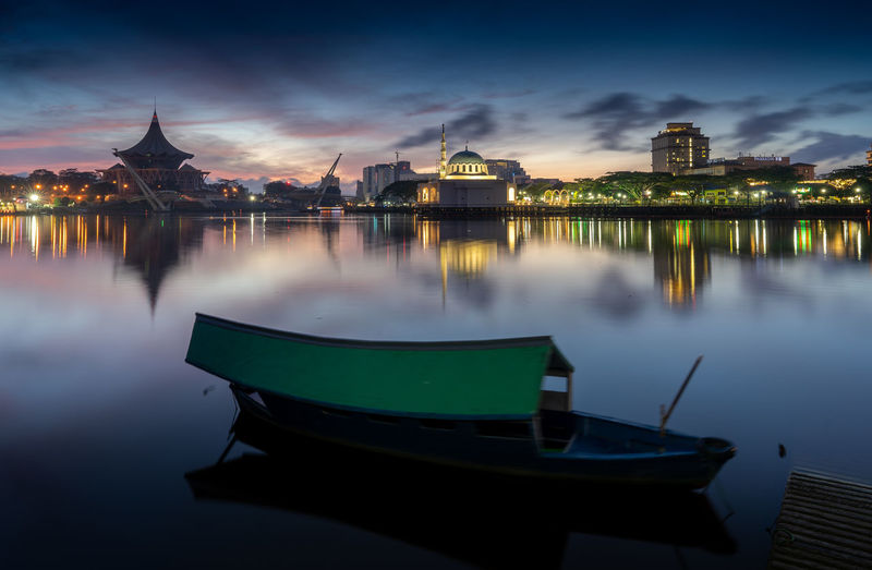 The boat and sunrise view at sarawak river