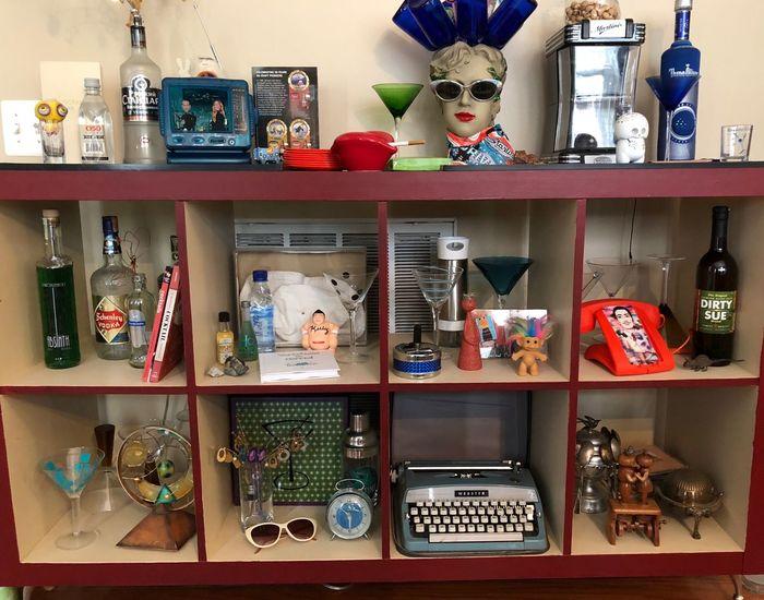 EyeEmNewHere Vintage Eyeglasses Martini Shaker Mannequin Martini Glasses Vintage Typewriter Vodka Time!! Vodka And Vintage Vignette Vignette Art Shelf Arrangement Variation Indoors  No People Large Group Of Objects Choice Still Life Domestic Room Bottle Representation