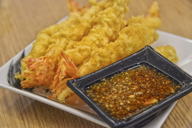 Tempura Tempura And Sushi Deep Fried  Food And Drink Fried High Angle View Japanese Food Plate Snack Still Life Temptation Tempura Shirimp Wellbeing