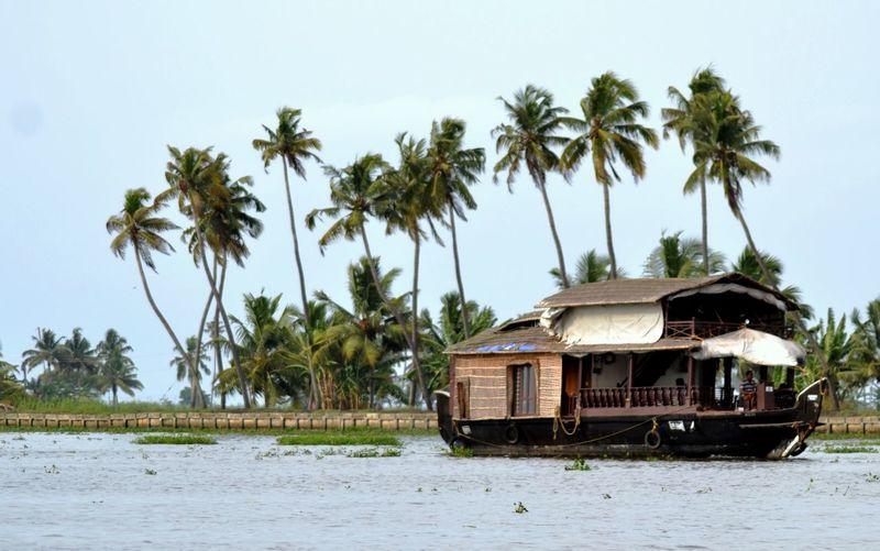 Houseboat In Kerala Backwaters Against Sky