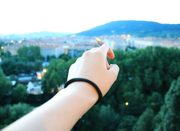 Hand Human Hand Human Body Part Personal Perspective One Person Altura Pamplona Traveling Photography Illuminated Clouds