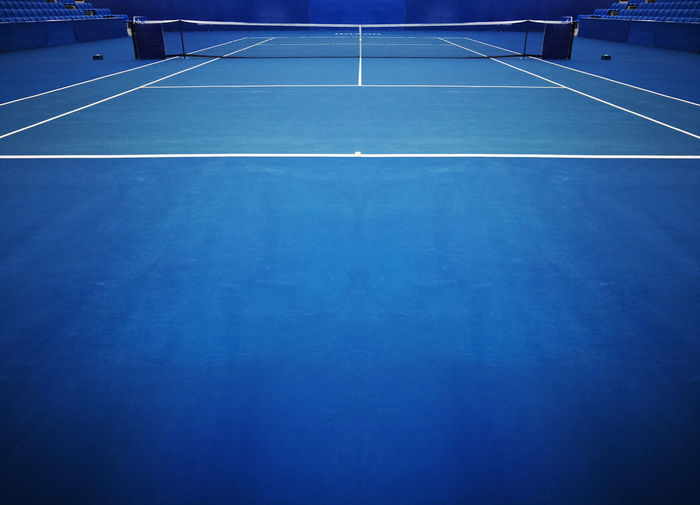View Of Blue Tennis Court