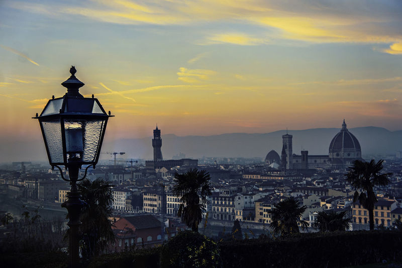 Distant View Of Duomo Santa Maria Del Fiore Against Sky In City During Sunset