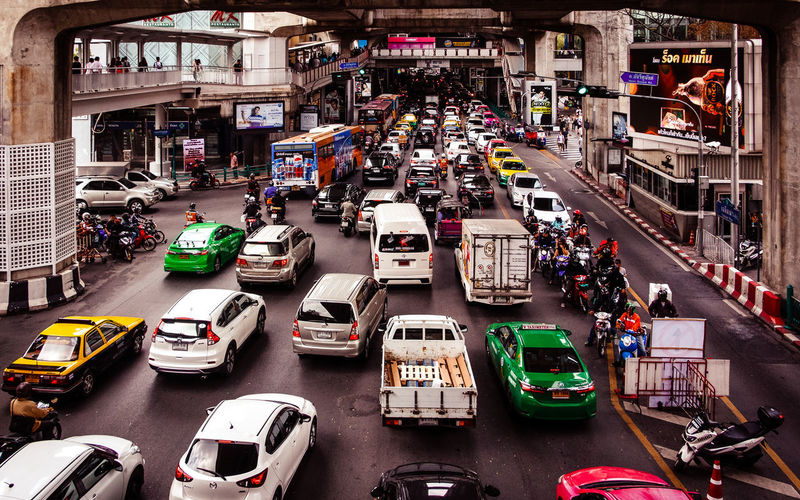 Transportation Car Mode Of Transportation Motor Vehicle Land Vehicle City Traffic Street Architecture High Angle View City Life Busy Motion Crowd on the move This Is Strength