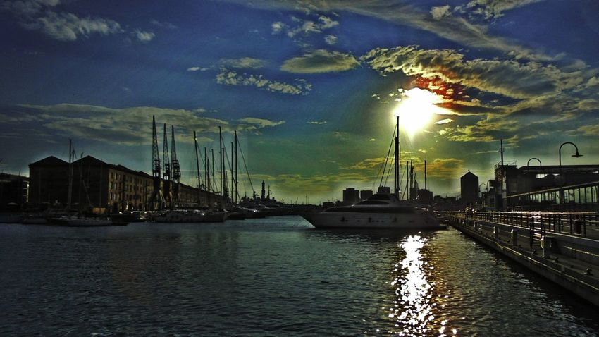 My Editing  Sunset Silhouettes Sea View Boats