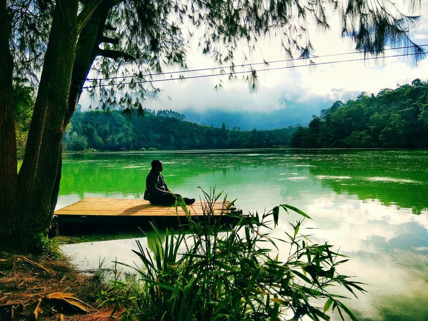 Telaga Warna Dieng Indonesia Tree Water Lake Nature Reflection One Person Sitting Tranquility Silhouette People Day Outdoors Adults Only Beauty In Nature Adult Real People Sky Rowing