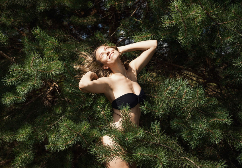 Northern Comfort Branches Green Happy Linas Was Here Nature Pines Evergreen Girl Model Smile Summer Sunshine Wild