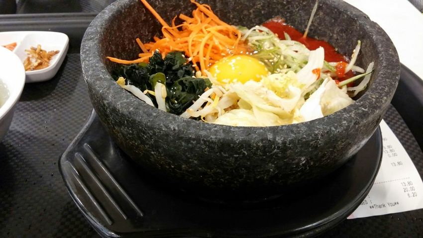 Food And Drink Food Healthy Eating Freshness Vegetable Heat - Temperature Indoors  Ready-to-eat No People Day Bibimbab Airportfood Airport Breakfast Egg Rice Yolk Colourful Stonepot Hotdish