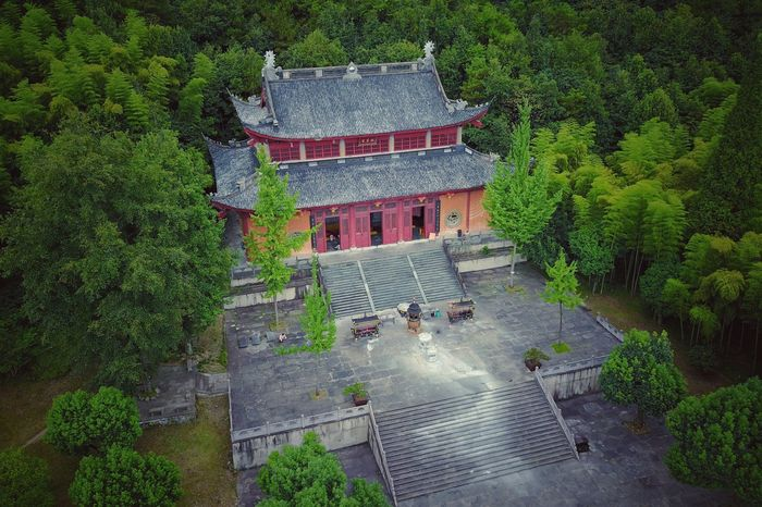 Tree Architecture Built Structure Building Exterior High Angle View Outdoors Roof Nature Day No People Water Beauty In Nature Sky Temptation Chinese Religion