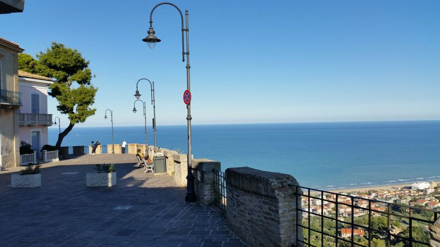 Abruzzo Architecture Beach Beauty In Nature Blue Building Exterior Built Structure Clear Sky Horizon Over Water Sea Silvi Alta Tranquil Scene Tranquility Water