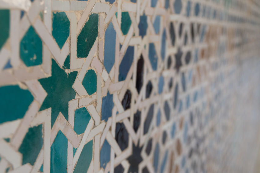 Alcazar Palace Detail Architecture Backgrounds Barrier Built Structure Close-up Day Design Fence Full Frame Indoors  Mosaic Multi Colored No People Pattern Selective Focus Shape Textured  Tile Wall Wall - Building Feature