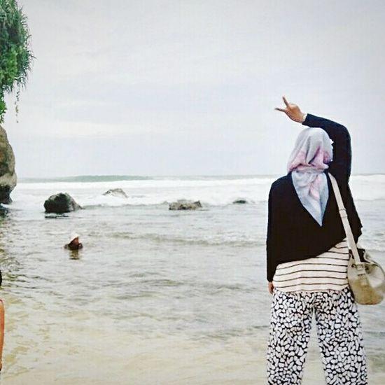 vitamin sea Indonesian Indonesian Hijabers Wonderfulindonesia Vitamin Sea Beach Outdoors Water Sky Nature Standing Young Women First Eyeem Photo