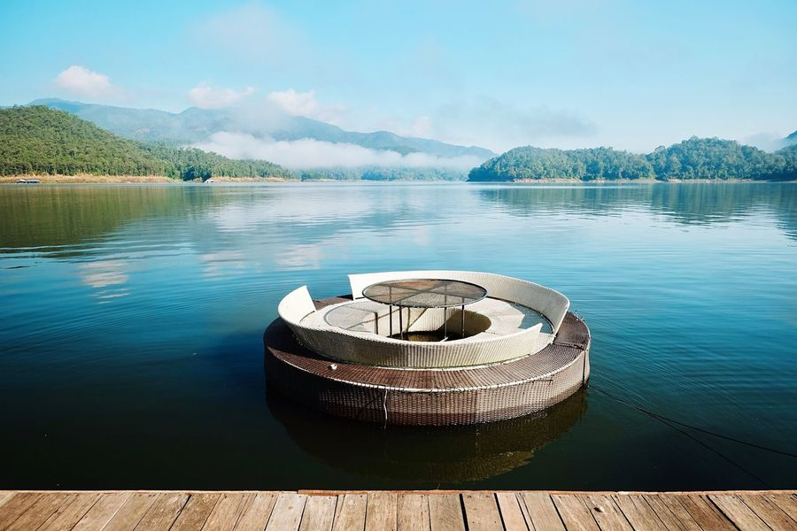 Mountain Water Lake Nautical Vessel Reflection Scenics Nature Moored Beauty In Nature Non-urban Scene Sky No People Tranquility Tranquil Scene Outdoors Day Satun_Thailand
