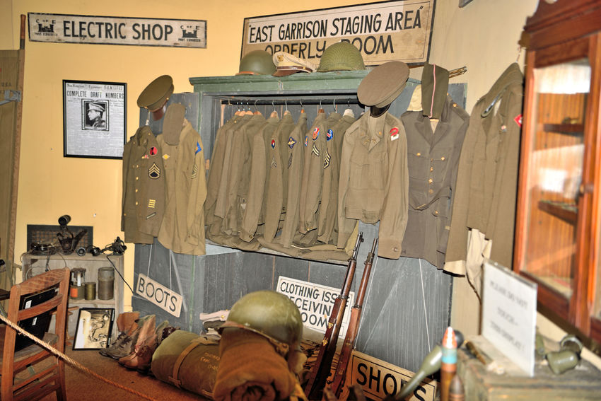 Guard House At Angel Island 2 Tiburon, Ca. Guard House Visitor's Center Military Museum Fort McDowell Angel Island Building Interior Collection Of U.S. Army Uniforms Rifles Hats Helmets Signs Hardware Former Headquarters Officer Of The Guard Sergeant Of The Guard Houses Islands Military History Information Photographs Open Weeknds May-Sept After Alcatraz Military Prison Closed 1920 Became Jail For Minor Offenders