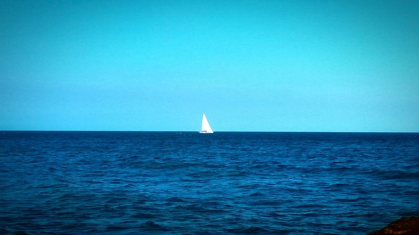 Sea Blue Nautical Vessel Sailing Water Sailboat Sailing Ship Horizon Over Water Sky Clear Sky Yacht Nature Vacations Outdoors Yachting Beauty In Nature No People Day Regatta