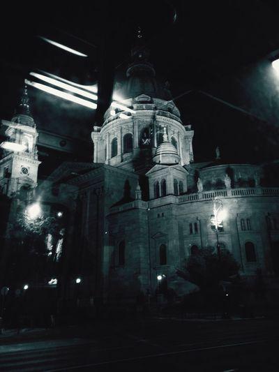 High angle view of church at night